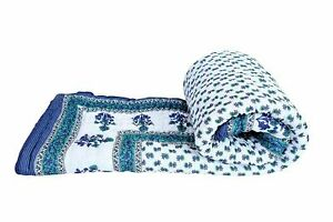 Indian Bedspread Cotton Flower Printed Coverlet Soft Light Wight Throw Quilt