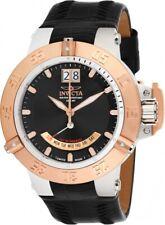 Invicta 50mm Subaqua Noma III SWISS MADE Day Date Black Leather Watch RETURN