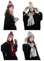 Womens Ladies Wooly Thick Knitted Hat Scarf and gloves Set knitted Woolen