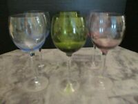 "ELEMENTS ETCHED GRAPES 6 WATER GOBLETS 2 GREEN 2 BLUE 2 PINK 9"" TALL"