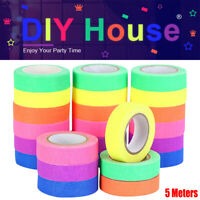 6 Roll UV Reactive Fluorescent Tape Glowing in The Dark Neon DIY Colorful Tape