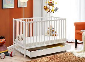Culla in legno lettino neonati letto bambini doghe legno materasso e cassetto