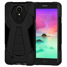 AMZER Dual Layer Hybrid Rugged Kickstand Case Cover For LG K10 2017 M250N -Black