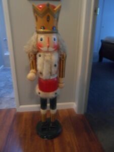 """Vintage 42"""" Tall Nutcracker w/Working Handle & Mouth"""