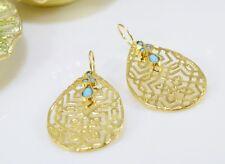 OttomanGems semi precious gem stone gold plated Filigree earrings Turquoise