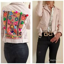 ZARA NEW REAL LEATHER PINK EMBROIDERED JACKET SIZE M