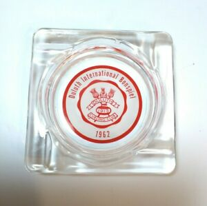 Vintage Duluth Curling Club ashtray promtional advertising 1962 glass