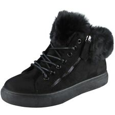 Womens Ankle BOOTS Faux Fur Lining Zip SNEAKERS Lace up Flat Trainers Shoes Size Black UK 6 / EU 39 / US 8