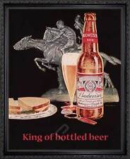 BUDWEISER, King of Bottled Beer. Framed Vintage AD Poster Reproduction. Black