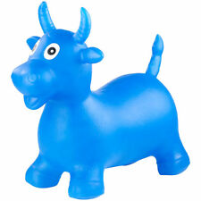Sprungtier: Aufblasbare Hüpf-Kuh aus elastischem Kunststoff, blau (Hüpftiere)