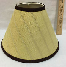Lamp Shade Yellow Raffia Paper Brown Fabric Bell Shape Spider Harp Fitter 6.5""