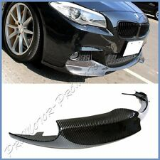 For BMW F10 528i 535i 550i M Sport Sedan 3K Carbon Fiber V Type Front Bumper Lip