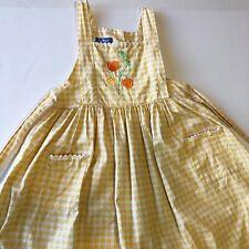 Arthur Felicie Girls Yellow Gingham Pinafore Apron Dress Vintage Style