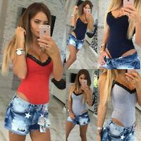 Women Sleeveless Bandage Bodysuit Leotard Tops Blouse T-shirt Jumpsuit Rompers