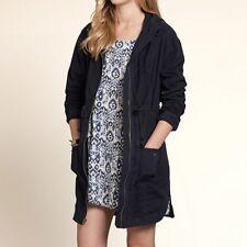 Hollister navy blue Point Mugu Twill Parka coat sz L large