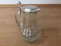 Wunderschöne Edle große Art Deco Glas kalte Ente Glaskaraffe Glaskanne Saftkrug
