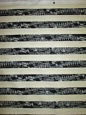 PIANO KEYBOARD STRIPES MUSIC CREAM COTTON FABRIC FQ