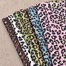 A4 Leopard Printing Glitter Synthetic Artificial Leather PU Fabric For DIY Craft