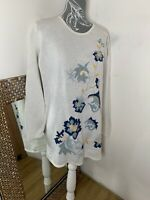 St Michael Vintage Marks & Spencer Ladies Knit Floral Sweater Size 16 Cotton