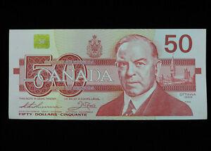 1988 $50 Dollar Bank of Canada Banknote Bill EHR 4598144 Thiessen Crow AU Grade