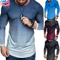 US Men's Gradient Long Sleeve Muscle Tops Sport Casual Slim Fit Blouse Tee Shirt