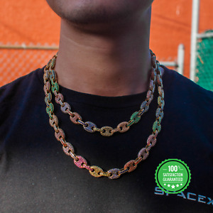 Yellow Gold Rainbow Gucci Mariner Link Chain Real Icy Iced Choker Necklace