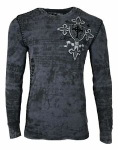 Xtreme Couture by AFFLICTION Men's THERMAL T-Shirt PRO FAITH Biker MMA
