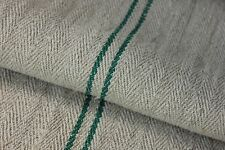 Grainsack Grain Sack linen European feedbag GREEN stripes HEAVY hemp CHRISTMAS