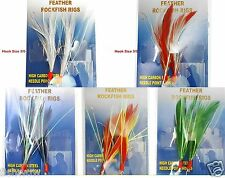 5packs Size 3/0 Fishing Rockfish Rigs 2 Hooks Feather Rock Cod Fish Baits 5color