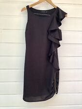 PORTMANS Silky Sleeveless Cocktail Dress With Ruffle And Gold Zip - Size 6
