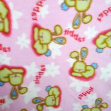 """SLEEPING RABBIT Fleece Fabric BABY BUNNY 60"""" By The Yard PINK BABY FLEECE"""