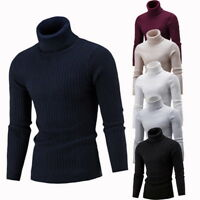 US Mens Turtleneck Sweater Pullover Tops Long Sleeve Slim Knitted Sweater GIFT