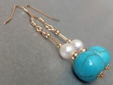Beautiful Turquoise Gemstones & Freshwater Pearls 14ct Rolled Gold Earrings