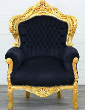 BIG CLASSIC BAROQUE CHAIR - großer BAROCK SESSEL schwarz-gold BAROCK THRON STUHL
