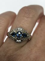 Vintage Blue Sapphire Ring 925 Sterling Silver White Sapphire Blue Topaz Size 7