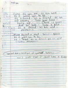 KURT COBAIN / NIRVANA Handwritten Lyrics 'Come As You Are' Rock Band - preprint