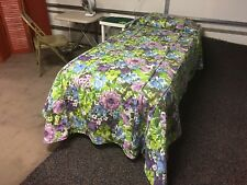 Vintage Twin Bed Cover Spread Quilted With Multicolored Flowers. Purple Green