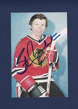 Stan Mikita signed Chicago Blackhawks vintage team issued hockey postcard