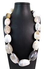 Collana in Agata naturale Multicolor chiara chiusura in argento Made in Italy