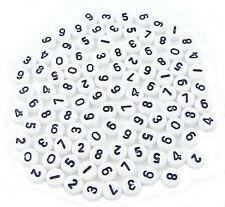 100 Stk. Ziffer Zahl Nummer PERLEN Rund KUNSTSTOFF MIX NEU Bastel Shamballa AN7M