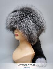 Russian SILVER FOX Fur Hat tail Davy Crockett Chapka Pelzmütze Silberfuchs Mütze