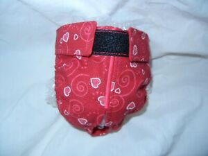 Female Dog Puppy Pet Diaper Washable Pants Sanitary Underwear RED HEARTS SM/MED
