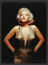 FRAMED Glamorous Marilyn Monroe Poster in Gold Dress 36x24 Made With REAL Wood