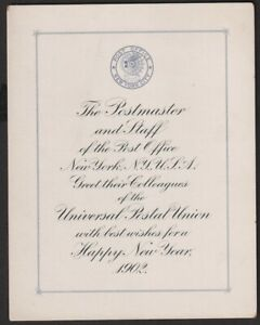 1902 NY Post Office Postmaster Cornelius Van Cott Christmas Greetings to UPU