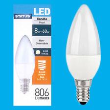 8x 8W(=60W) Pearl Candle Energy Saver LED SES E14 Light Bulb Lamp 4000K