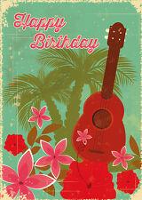 4 GREETING CARDS Hawaiian HAPPY BIRTHDAY Hawaiian Birthday Ukulele - Glittercard