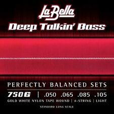 La Bella 750G Gold White Nylon Tapewound Bass Strings, Light 50-105