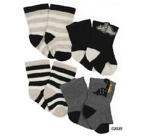 Gerber Baby Boy 4-Pack Wiggle proof Organic Cotton Black Dinosaurs Socks Sz 0-6M