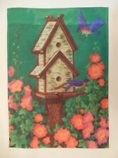 Bluebirds Fly to Birdhouse on Tree Stump, Flowers, Green decorative Garden Flag