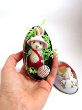 Miniature crochet boy hare, rabbit, bunny in tin box, egg, Easter gift 3 in